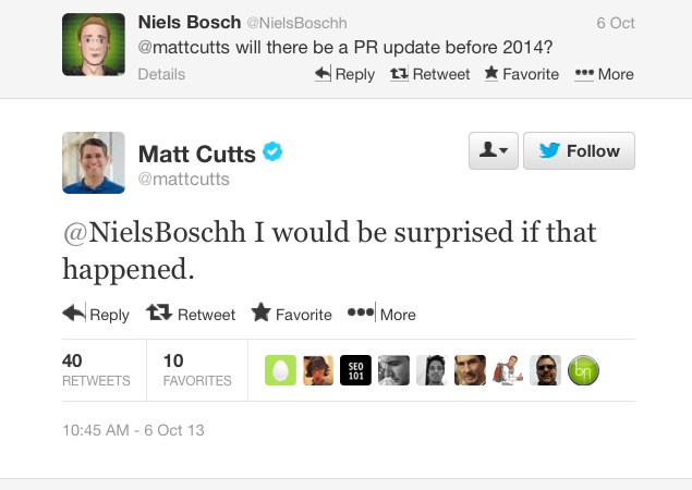 Matt Cutts on Twitter