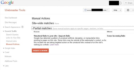 Penalty in Google Webmaster Tools