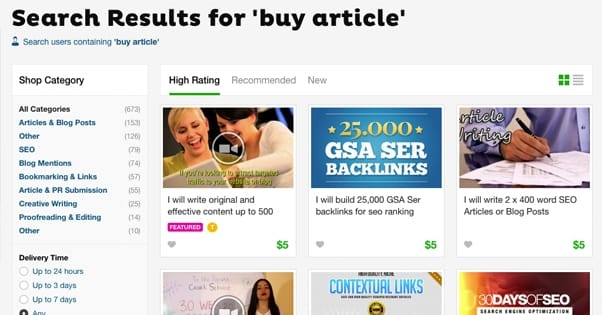 Buying articles