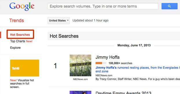 Google Hot Searches