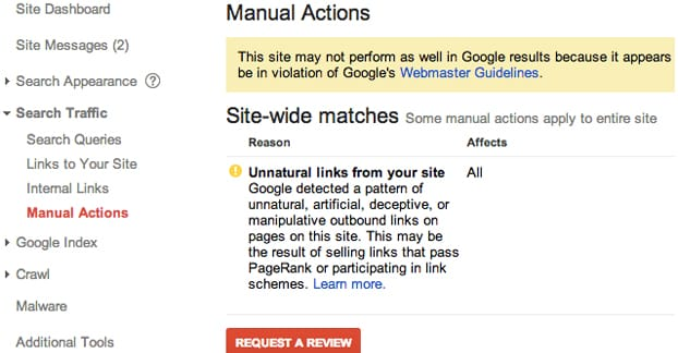 Manual Action Search Penalty