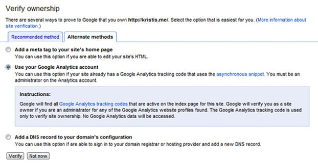 Verify Google Analytics