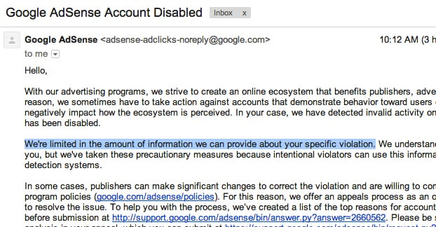 Account Disabled on Adsense