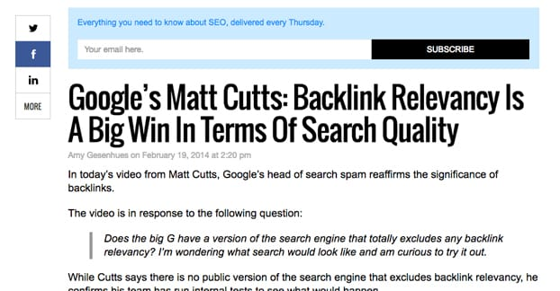 Backlink Relevance Matt Cutts