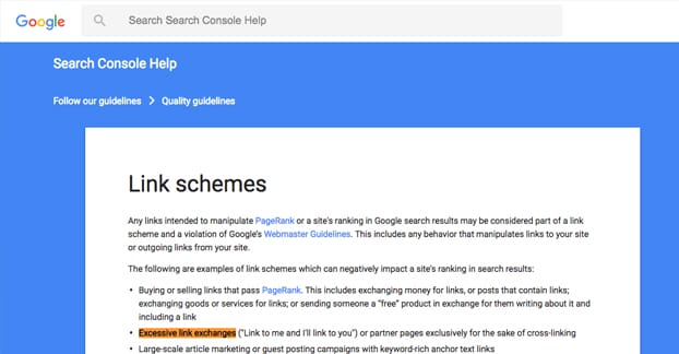 Google Link Schemes Link Exchanges