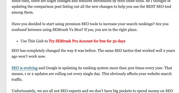SEMRush Promoting Affiliate Link