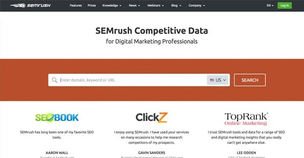 SEMRush Website Homepage