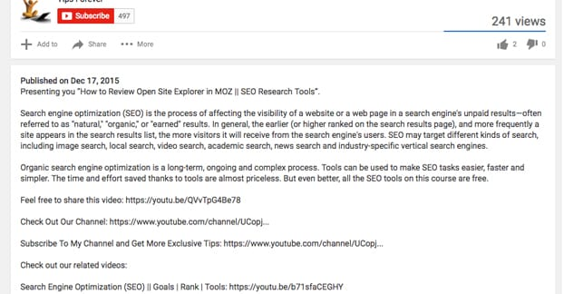 Thorough YouTube SEO Description