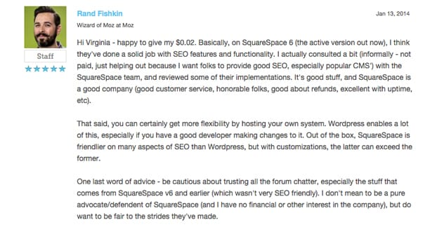 Rand Fishkin on Squarespace SEO