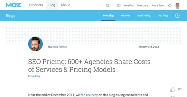 SEO Agencies Pricing Moz Study
