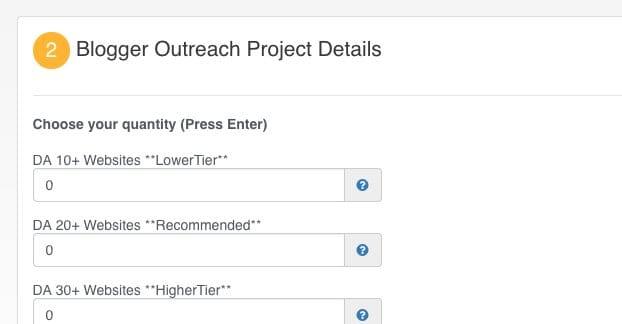 Blogger Outreach Order Form