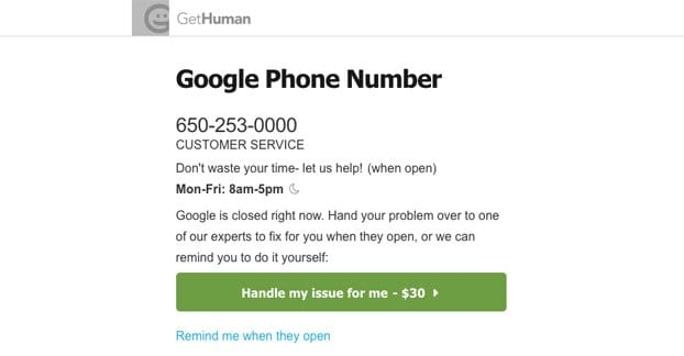 Contact Google Customer Service