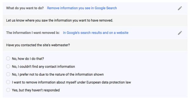 Remove Info from Google