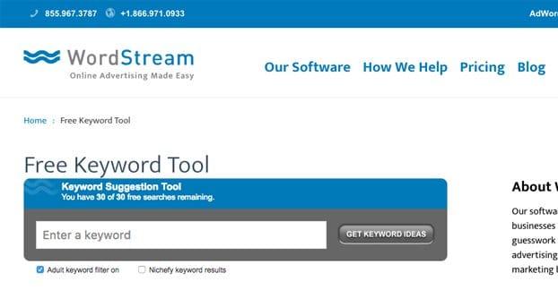 Wordstream Keyword Tool