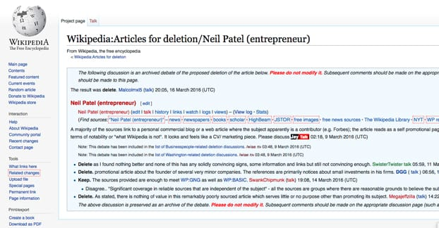 Neil Patel Page Deleted