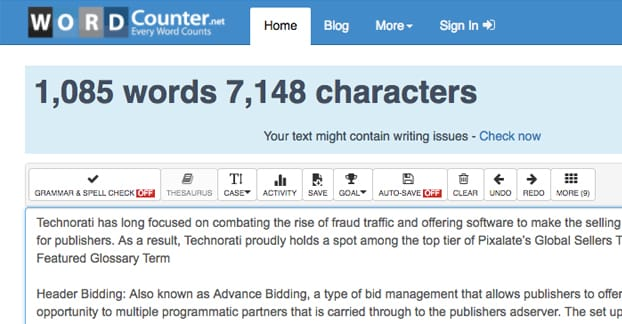 WordCounter Article Length