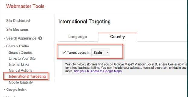 Webmaster Tools Target International Visitors
