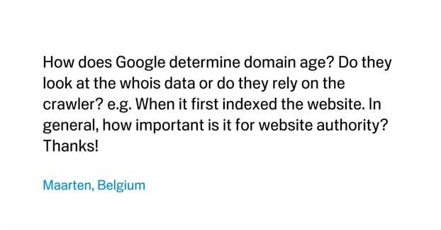 Domain Age and Matt Cutts