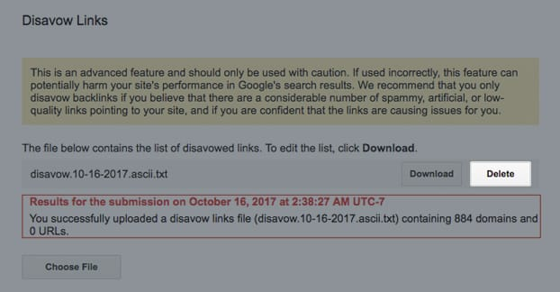 Delete Disavow File