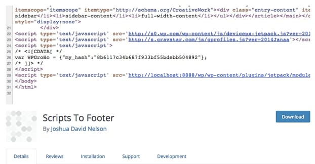 Scripts to Footer Plugin