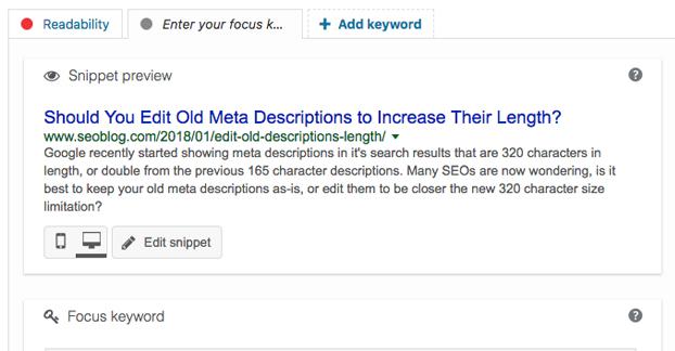 Longer Descriptions Screenshot