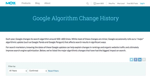 Algorithm Update History