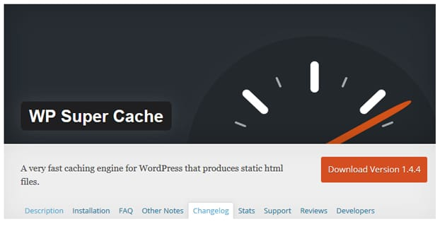 WP Super Cache Homepage