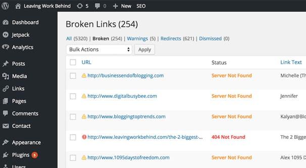 Broken Links WordPress Blog