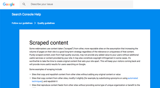 Google Scraped Content