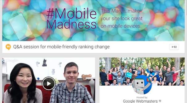 Mobile Madness Hosted by Google Webmasters