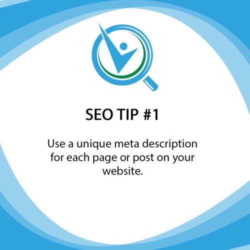 SEO Tip 1 use a unique meta description