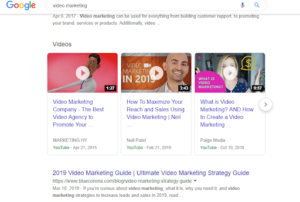 Google features videos in Search results