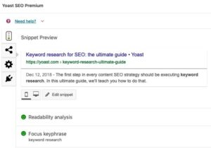 Optimizing keywords through SEO yoast