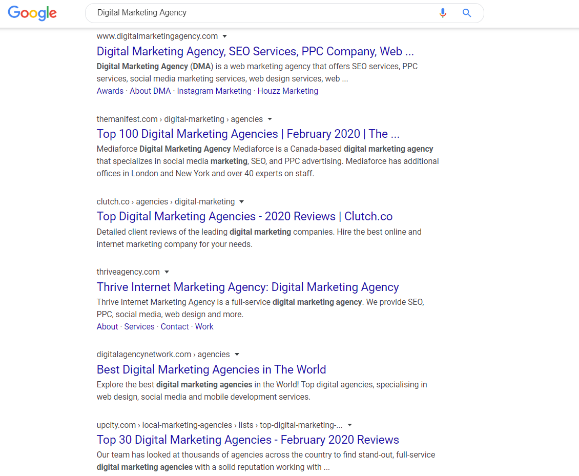 Digital Marketing Agency in SERP