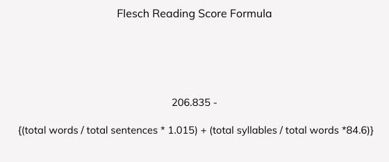Flesch Reading Score Formula