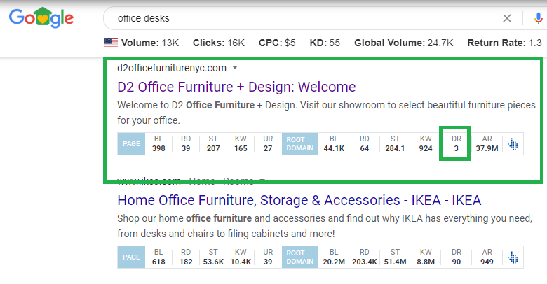 Office Desks Example Page