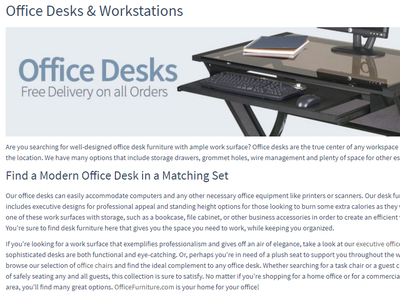 Office desk and work station