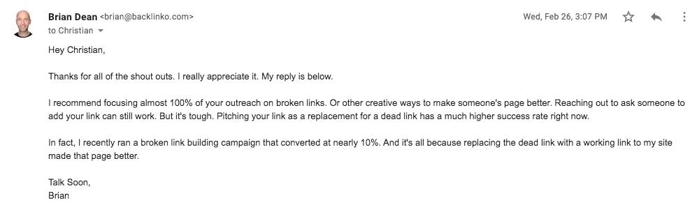 outreach email Brian Dean
