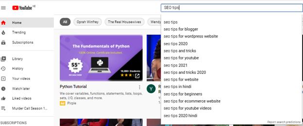 youtube search keywords